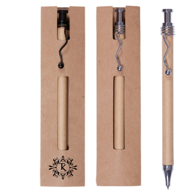 Bolígrafos cartón ecológico en negro o plata con funda